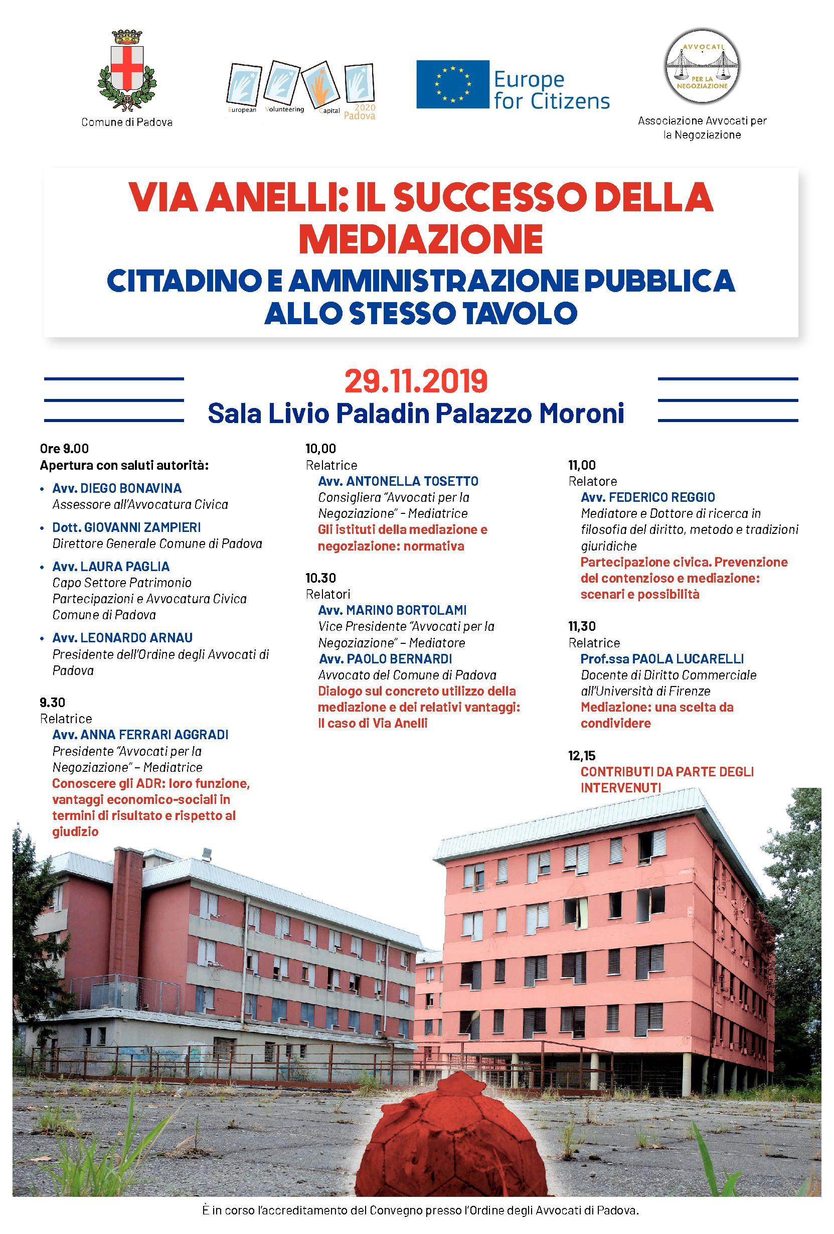 """29.11.2019 """"Via Anelli:il successo della mediazione"""""""