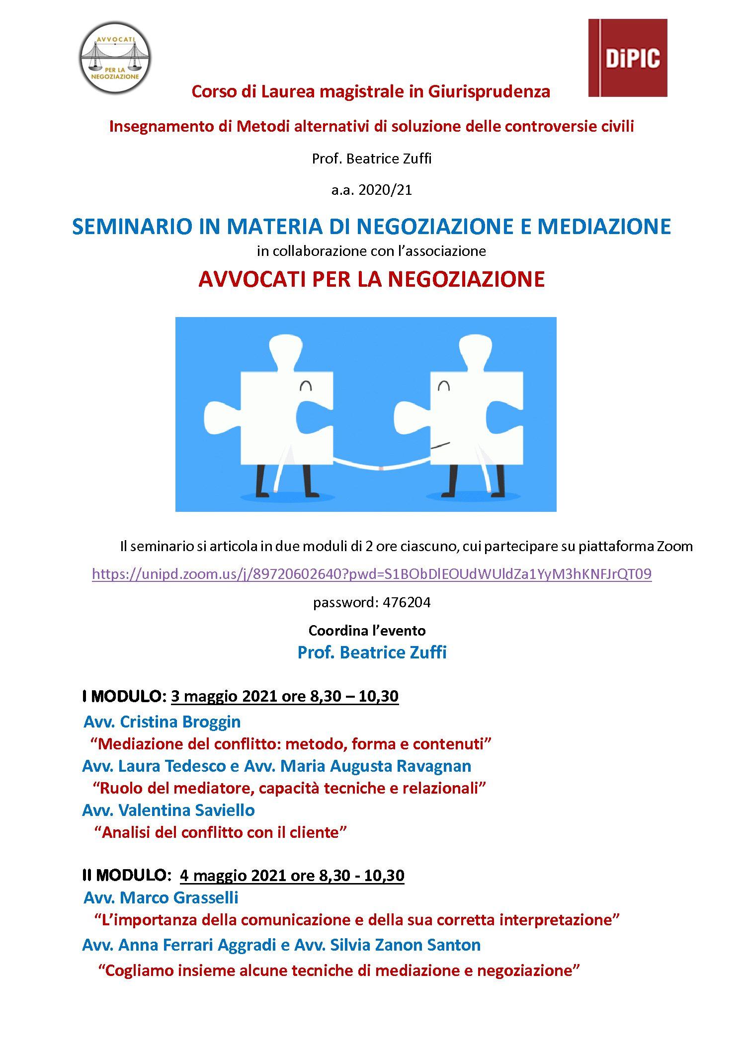 Seminario mediazione e negoziazione 3 e 4 maggio 2021 Università di Padova